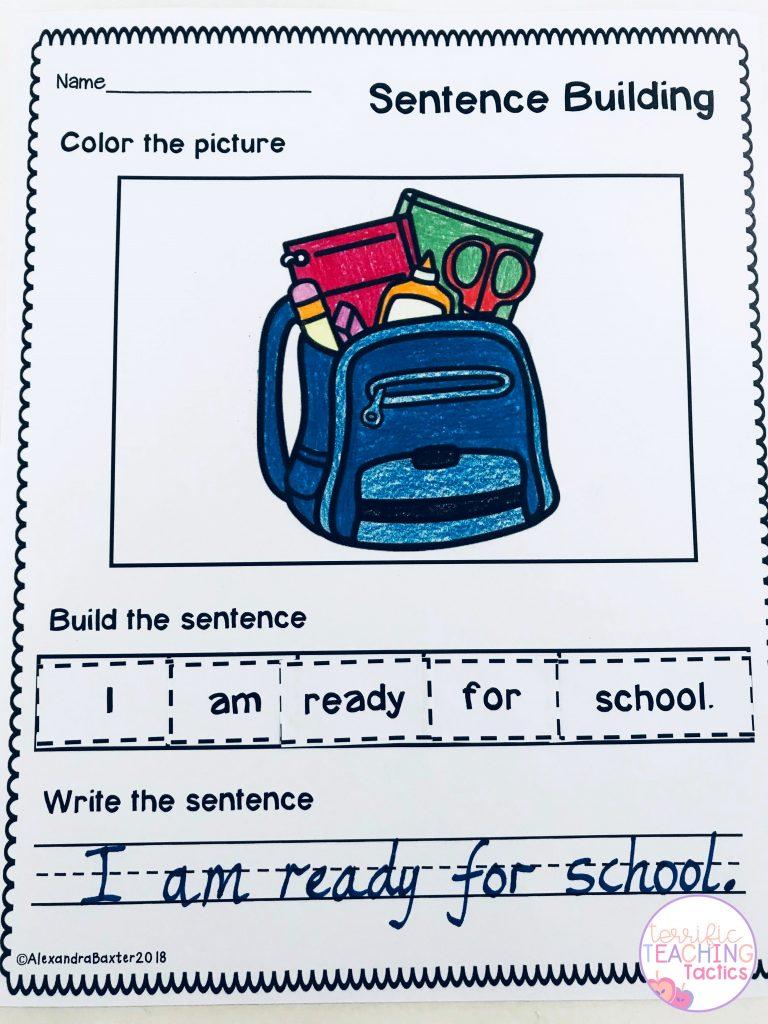 BACK TO SCHOOL ACTIVITIES - sentence building worksheets