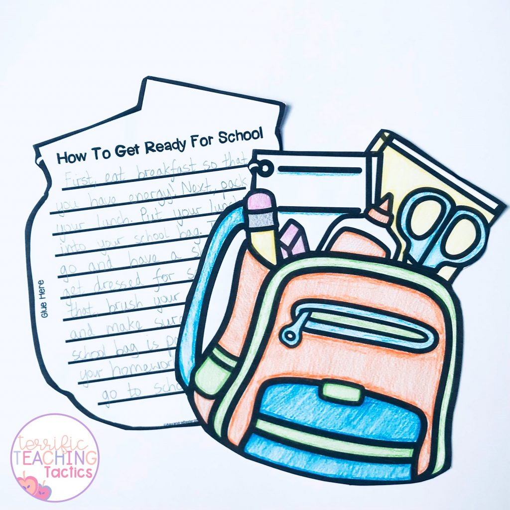 back to school writing crafts - how to procedure writing - backpack for how to get ready for school