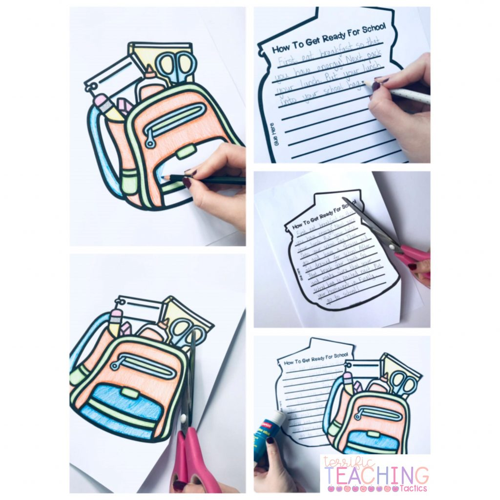back to school writing craftivity - how to procedural writing - backpack for how to get ready for school