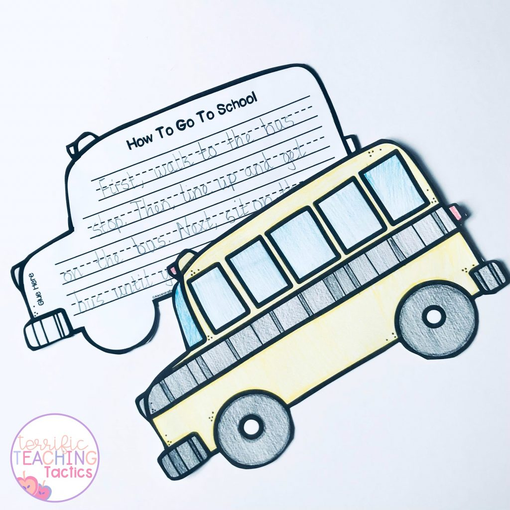 back to school writing crafts - how to procedure writing - school bus how to go to school