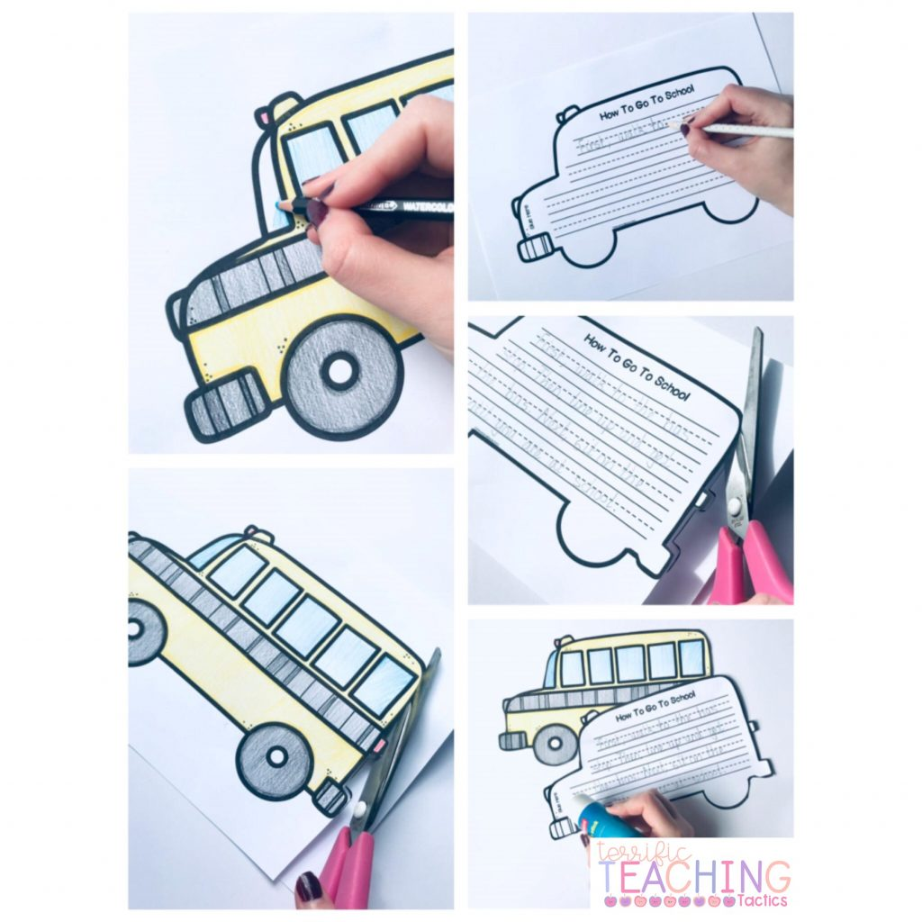 back to school writing craftivity - how to procedural writing - school bus for how to go to school