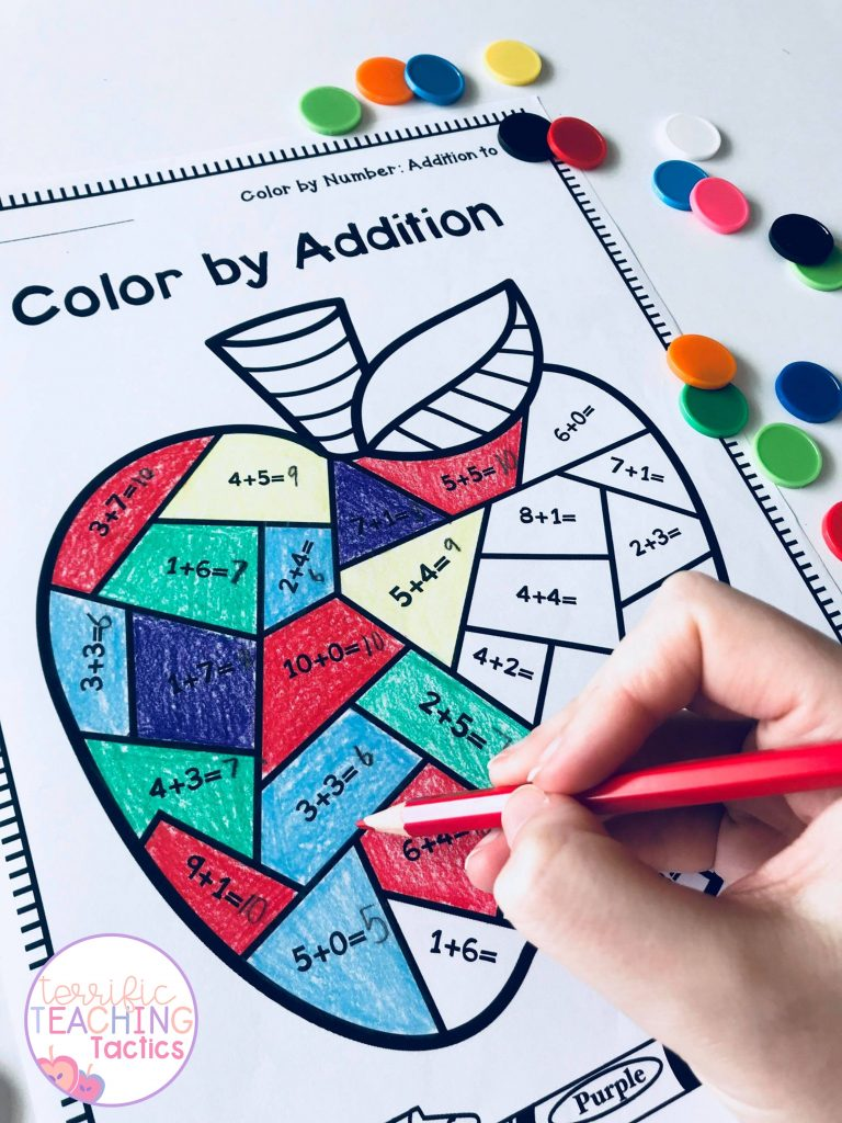 BACK TO SCHOOL ACTIVITIES - color by addition workseets