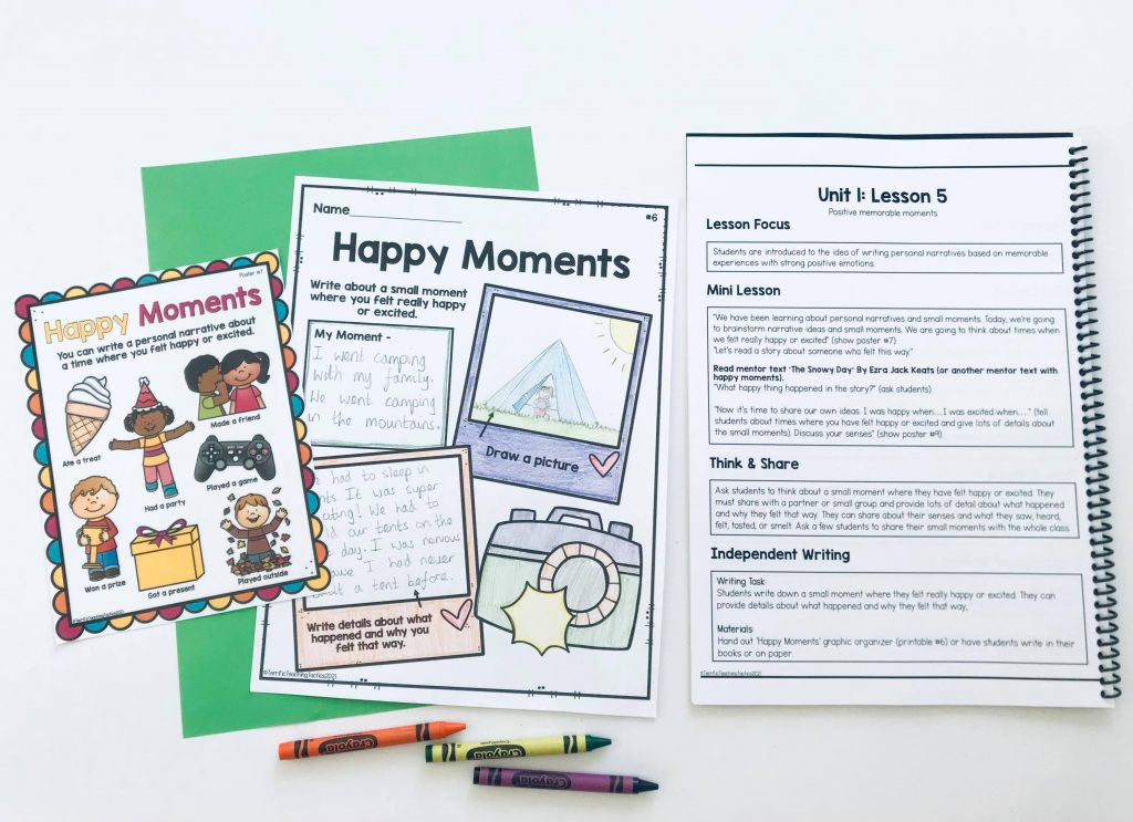 free personal narratives writing lesson plan, graphic organizer, and poster