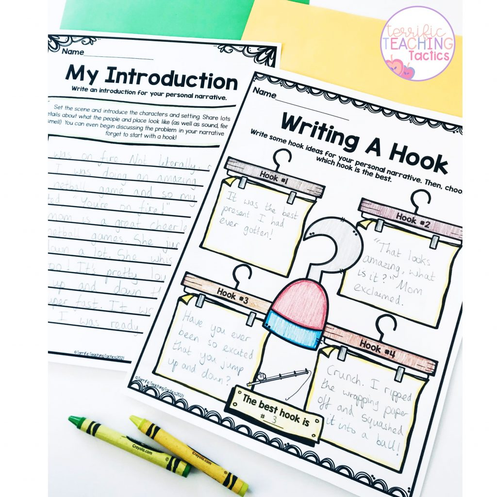 introduction and writing a hook narrative worksheets