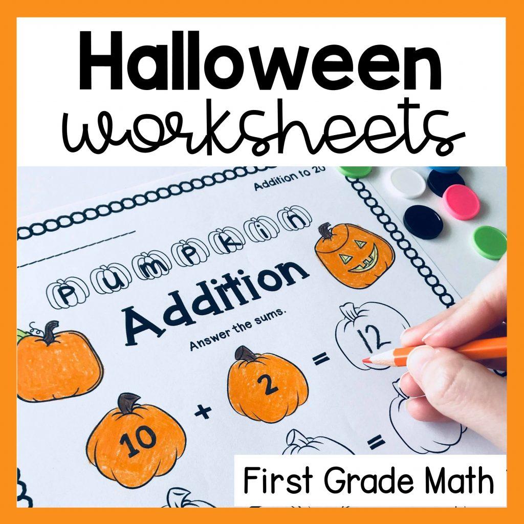 halloween math worksheets for first grade