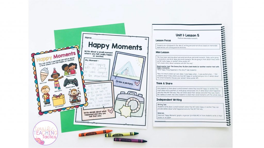 free personal narratives lesson plan, graphic organizer, and poster for 3rd grade